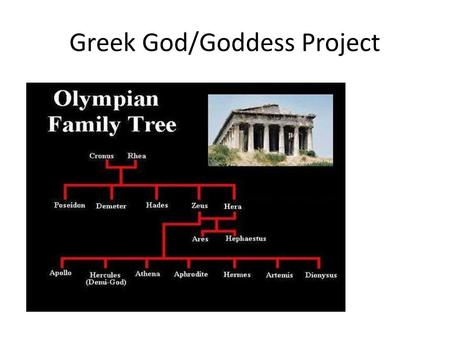Greek God/Goddess Project. What you need to do: You will conduct research about the God/Goddess or Muse you select. You will need to find out family history.