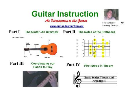 Guitar Instruction An Introduction to the Guitar Your Instructor Mr. Anthony Granata Part I The Guitar /An Overview Part II The Notes of the Fretboard.