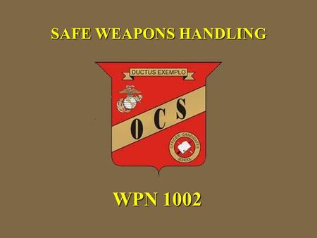 SAFE WEAPONS HANDLING WPN 1002. Weapons conditions and safety rules Reloads Weapon Commands Weapon Carries Weapon Transports Weapon Transfers Indicators.