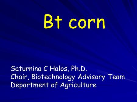 Bt corn Saturnina C Halos, Ph.D. Chair, Biotechnology Advisory Team Department of Agriculture.