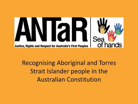 Recognising Aboriginal and Torres Strait Islander people in the Australian Constitution.