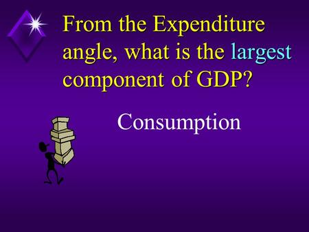 From the Expenditure angle, what is the largest component of GDP? Consumption.