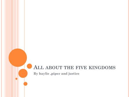 A LL ABOUT THE FIVE KINGDOMS By haylie,piper and justice.