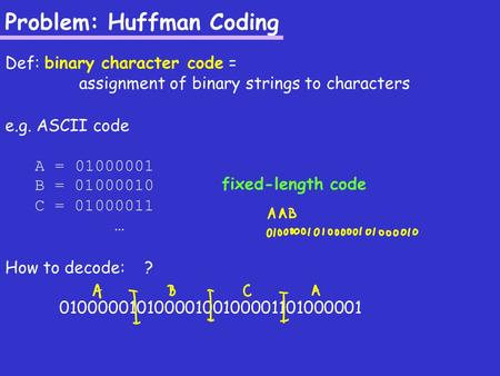 Problem: Huffman Coding Def: binary character code = assignment of binary strings to characters e.g. ASCII code A = 01000001 B = 01000010 C = 01000011.