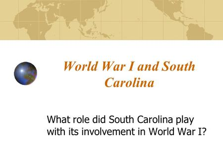 World War I and South Carolina