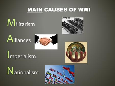 M ilitarism A lliances I mperialism N ationalism MAIN CAUSES OF WWI.