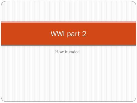 How it ended WWI part 2. America joins the fray America became involved in WWI after: Unrestricted Submarine Warfare Sinking of the Lusitania in 1915.