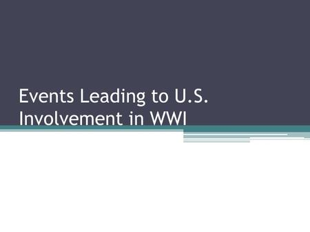 Events Leading to U.S. Involvement in WWI. REVIEW What four movements led to World War I (think of the powder keg?