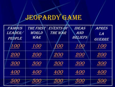 Jeopardy game Famous leader/ people The first World War Events of the War Ideas and beliefs Apres La guerre 100 200 300 400 500.