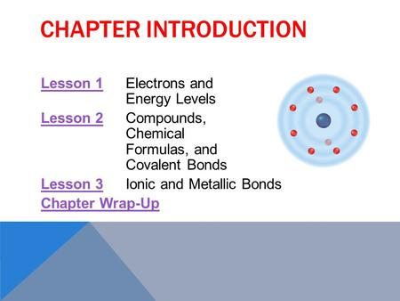 CHAPTER INTRODUCTION Lesson 1Lesson 1Electrons and Energy Levels Lesson 2Lesson 2Compounds, Chemical Formulas, and Covalent Bonds Lesson 3Lesson 3Ionic.