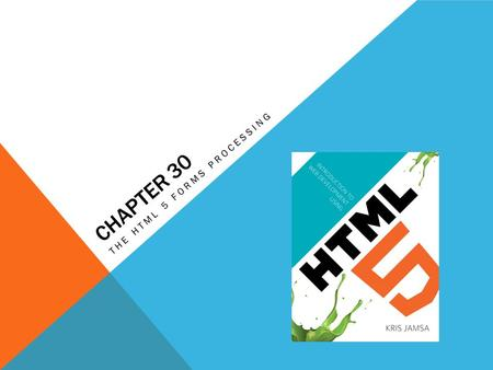 CHAPTER 30 THE HTML 5 FORMS PROCESSING. LEARNING OBJECTIVES What the three form elements are How to use the HTML 5 tag to specify a list of words' form.