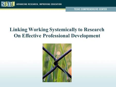 Linking Working Systemically to Research On Effective Professional Development.