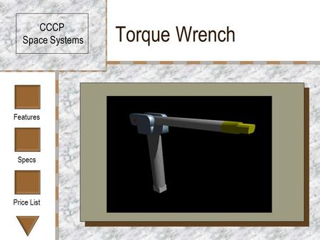 Features Specs Price List Torque Wrench CCCP Space Systems CCCP Model 757XS.