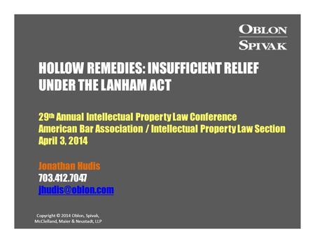 HOLLOW REMEDIES: INSUFFICIENT RELIEF UNDER THE LANHAM ACT