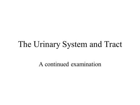 The Urinary System and Tract