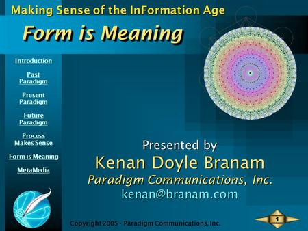 Introduction Past Paradigm Present Paradigm Future Paradigm Process Makes Sense Form is Meaning MetaMedia Making Sense of the InFormation Age Copyright.
