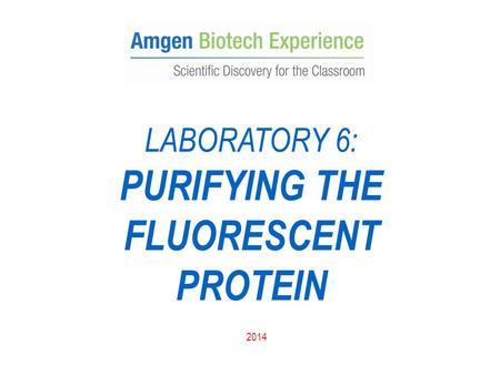 LABORATORY 6: PURIFYING THE FLUORESCENT PROTEIN 2014.