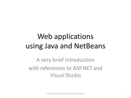 Web applications using Java and NetBeans