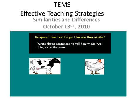 TEMS Effective Teaching Strategies Similarities and Differences October 13 th, 2010.