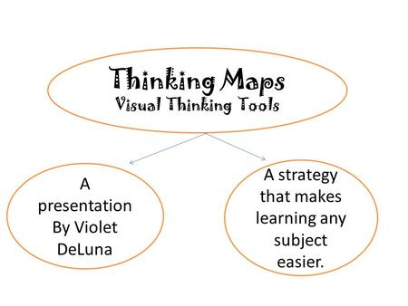 Thinking Maps Visual Thinking Tools A presentation By Violet DeLuna A strategy that makes learning any subject easier.