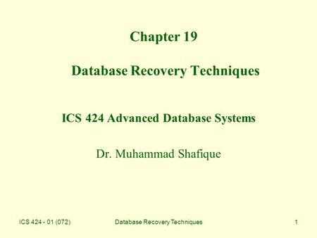Chapter 19 Database Recovery Techniques