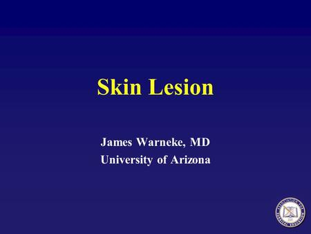 Skin Lesion James Warneke, MD University of Arizona.