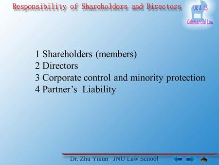 1 Shareholders (members) 2 Directors 3 Corporate control and minority protection 4 Partner's Liability.