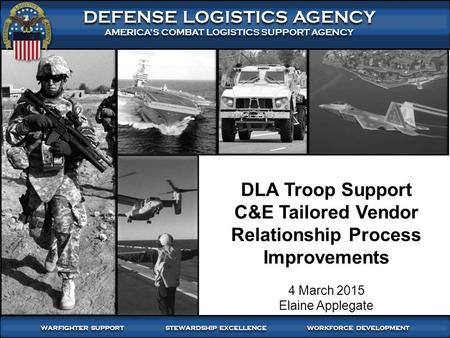 DLA Troop Support C&E Tailored Vendor Relationship Process Improvements 4 March 2015 Elaine Applegate.