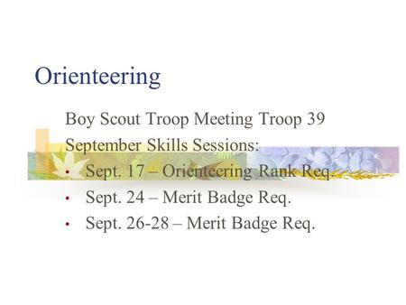 Orienteering Boy Scout Troop Meeting Troop 39