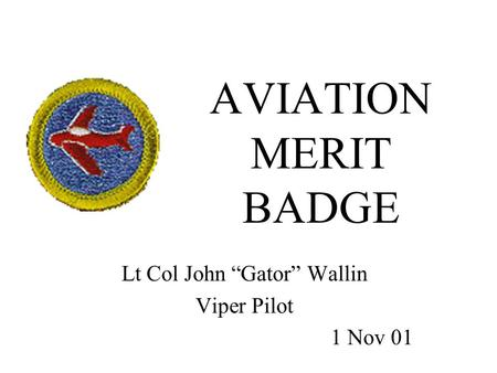 "AVIATION MERIT BADGE Lt Col John ""Gator"" Wallin Viper Pilot 1 Nov 01."