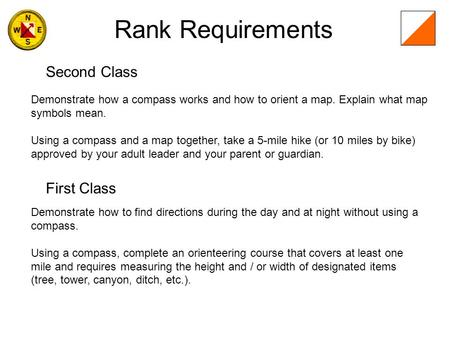 Rank Requirements Second Class First Class