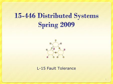 L-15 Fault Tolerance 1. Fault Tolerance Terminology & Background Byzantine Fault Tolerance Issues in client/server Reliable group communication 2.