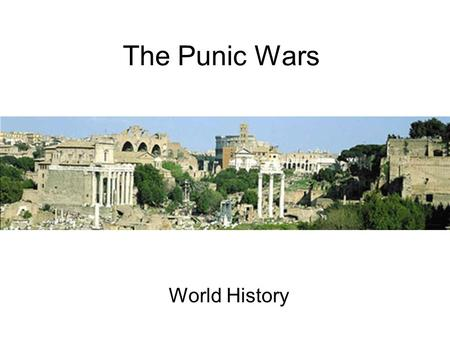 The Punic Wars World History.