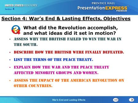 Section 4: War's End & Lasting Effects, Objectives