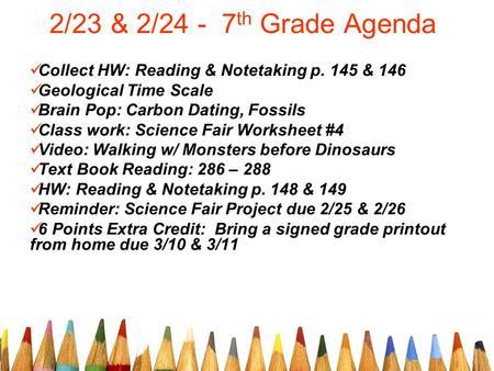 2 23 2 Th Grade Agenda Collect Hw Reading Notetaking P 145