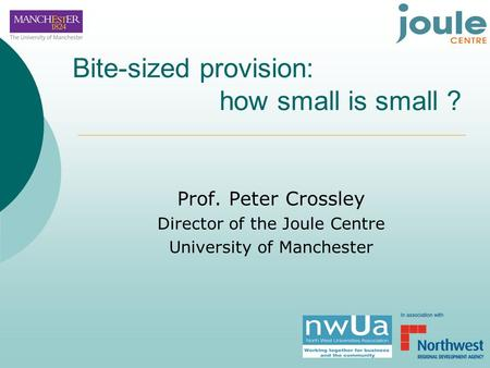 Bite-sized provision: how small is small ? Prof. Peter Crossley Director of the Joule Centre University of Manchester.