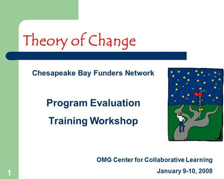 1 Theory of Change Chesapeake Bay Funders Network Program Evaluation Training Workshop OMG Center for Collaborative Learning January 9-10, 2008.
