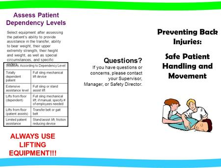 Questions? If you have questions or concerns, please contact your Supervisor, Manager, or Safety Director. Preventing Back Injuries: Safe Patient Handling.