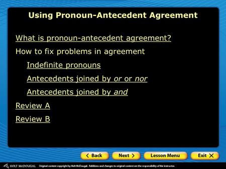 Using Pronoun-Antecedent Agreement