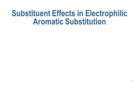 I Substituent Effects in Electrophilic Aromatic Substitution.