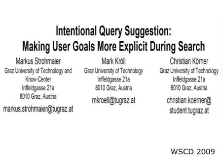 WSCD 2009. INTRODUCTION  Query suggestion has often been described as the process of making a user query resemble more closely the documents it is expected.