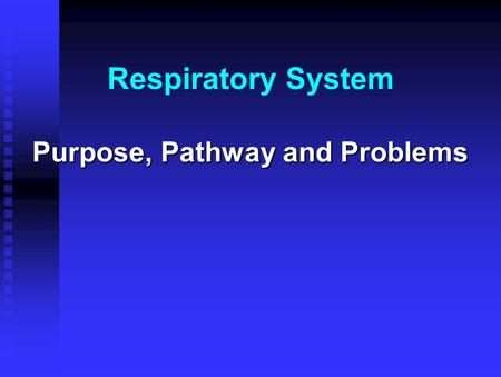 Respiratory System Purpose, Pathway and Problems.