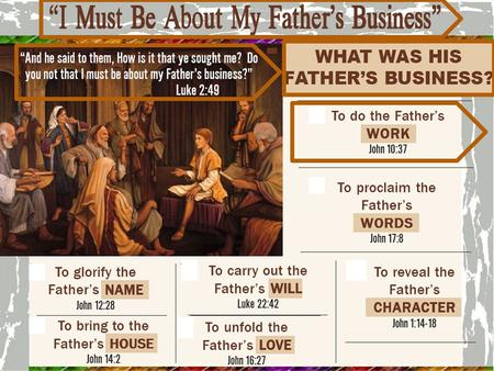 I Must Be About My Fathers Business To Proclaim the Father's WORDS John 17:8 for the words which You gave Me I have given to them; and they received them.