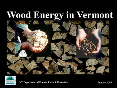 VT Department of Forests, Parks & Recreation Wood Energy in Vermont January 2005 VT Department of Forests, Parks & Recreation.