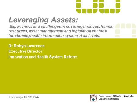 Leveraging Assets: Experiences and challenges in ensuring finances, human resources, asset management and legislation enable a functioning health information.