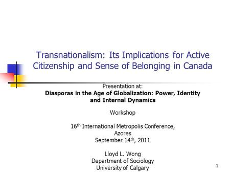 Diasporas in the Age of Globalization: Power, Identity