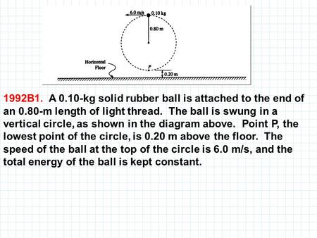 1992B1. A kg solid rubber ball is attached to the end of an 0