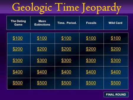 Geologic Time Jeopardy $100 $200 $300 $400 $500 $100$100$100 $200 $300 $400 $500 The Dating Game Mass Extinctions Time. Period. Fossils Wild Card FINAL.