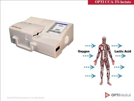 © 2009 OPTI Medical Systems, Inc. All rights reserved. OPTI CCA-TS-lactate OPTI CCA-TS-lactate.