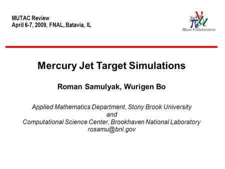 MUTAC Review April 6-7, 2009, FNAL, Batavia, IL Mercury Jet Target Simulations Roman Samulyak, Wurigen Bo Applied Mathematics Department, Stony Brook University.